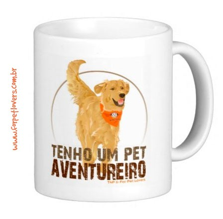 Caneca Pet Aventureiro (Golden Retriever)